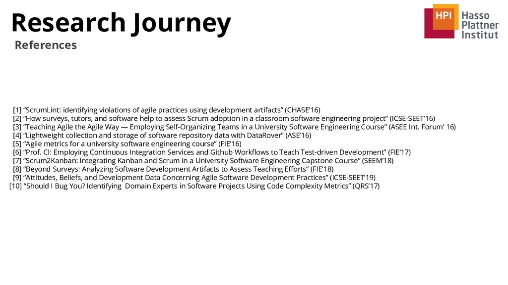 """Research Journey References [1] """"ScrumLint: ide..."""