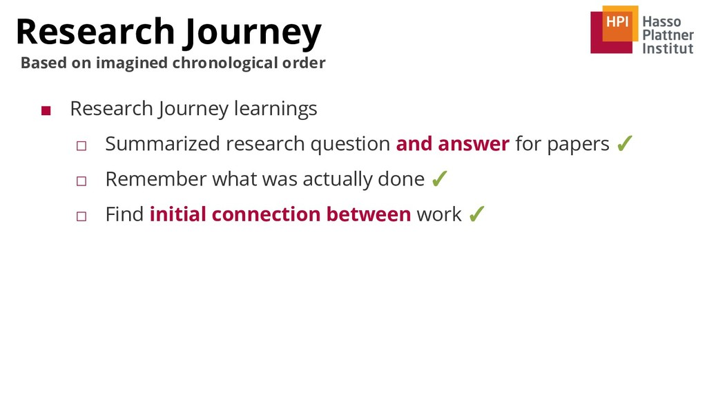 Research Journey Based on imagined chronologica...