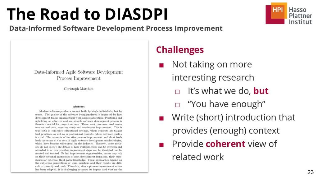 23 Data-Informed Software Development Process I...