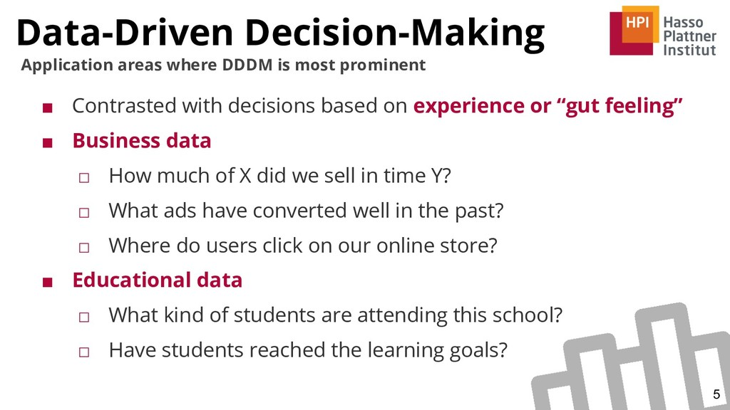 Data-Driven Decision-Making 5 Application areas...