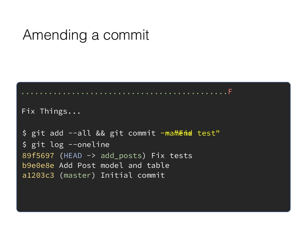 "-m ""Fix test"" Amending a commit .................."