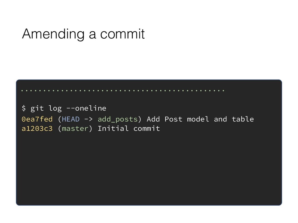Amending a commit ................................