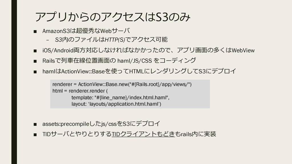 アプリからのアクセスはS3のみ ■ AmazonS3は超優秀なWebサーバ – S3内のファイ...