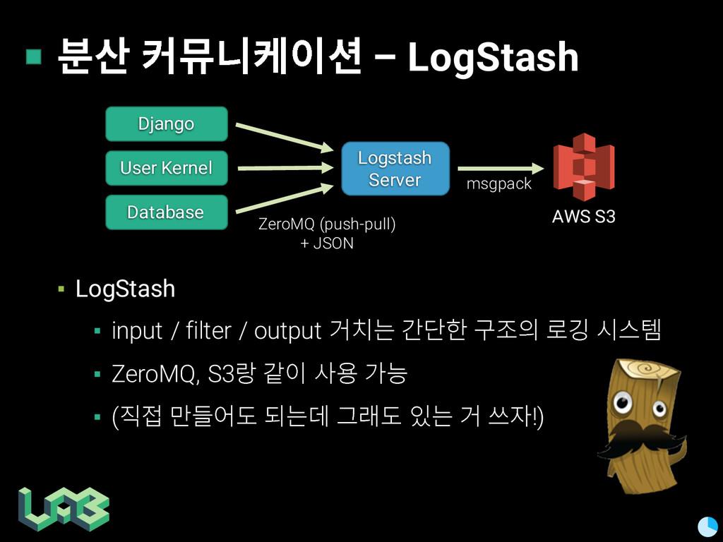 쭒칾 쥲삖핂켦 – LogStash ▪ LogStash ▪ input / filter ...