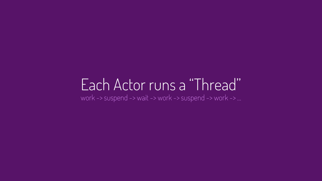 "Each Actor runs a ""Thread"" work -> suspend -> w..."
