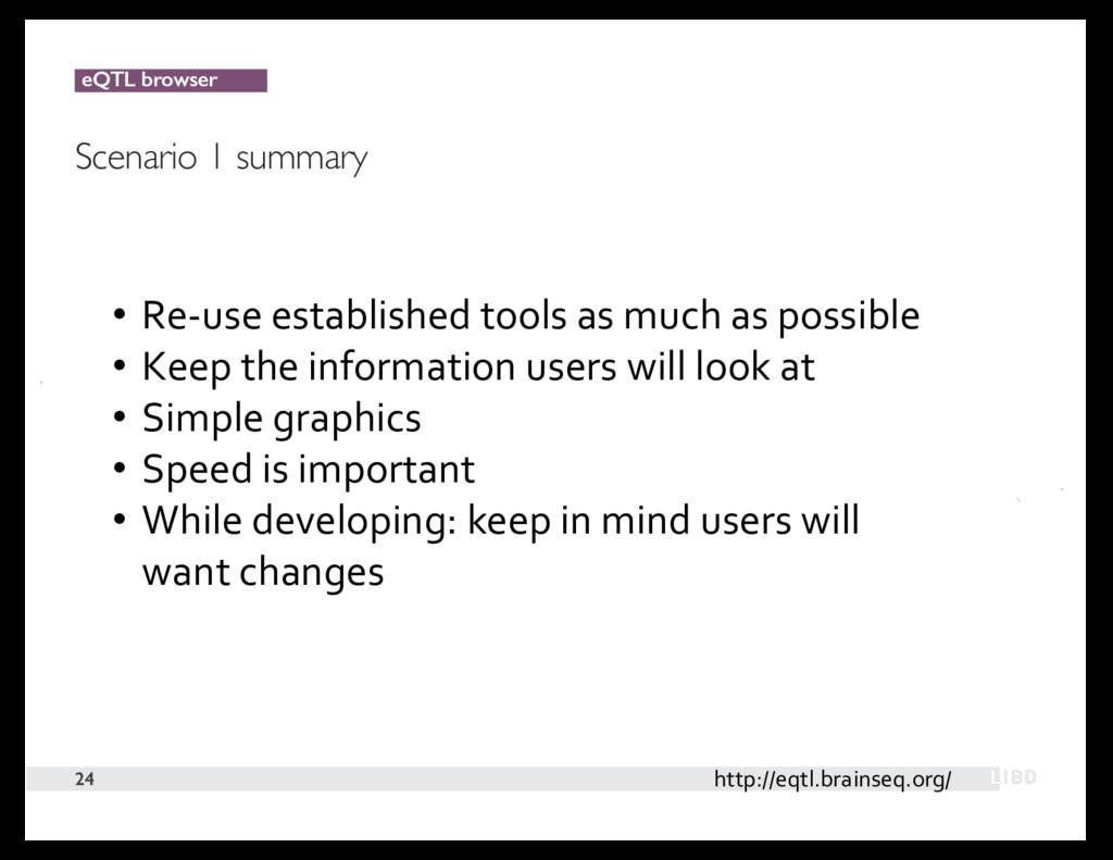 eQTL browser Scenario 1 summary 24 http://eqtl....