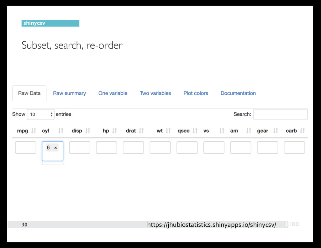Subset, search, re-order 30 shinycsv https://jh...