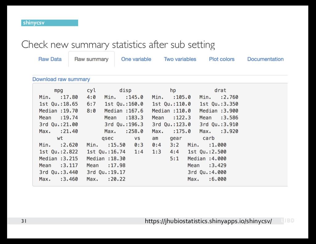 Check new summary statistics after sub setting ...