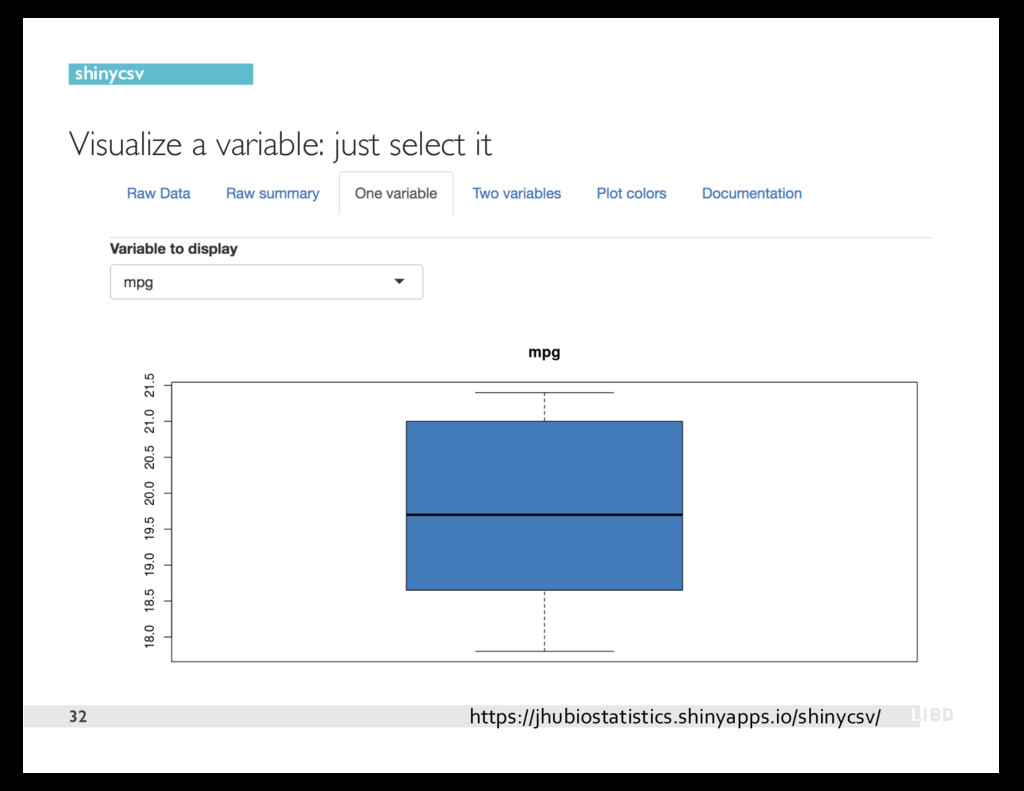 Visualize a variable: just select it 32 shinycs...