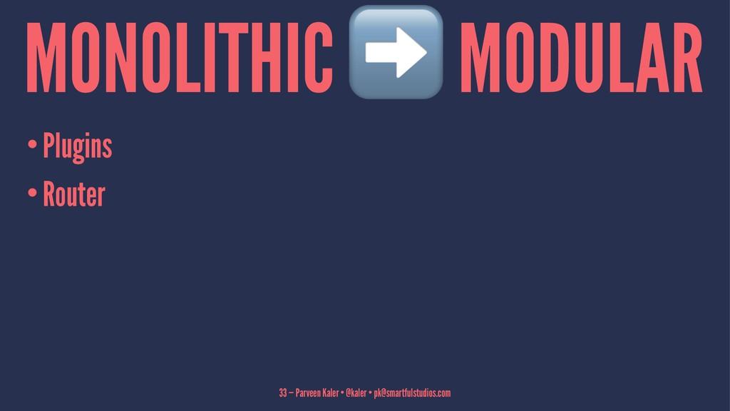 MONOLITHIC MODULAR •Plugins •Router 33 — Parvee...