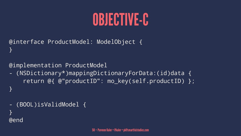 OBJECTIVE-C @interface ProductModel: ModelObjec...
