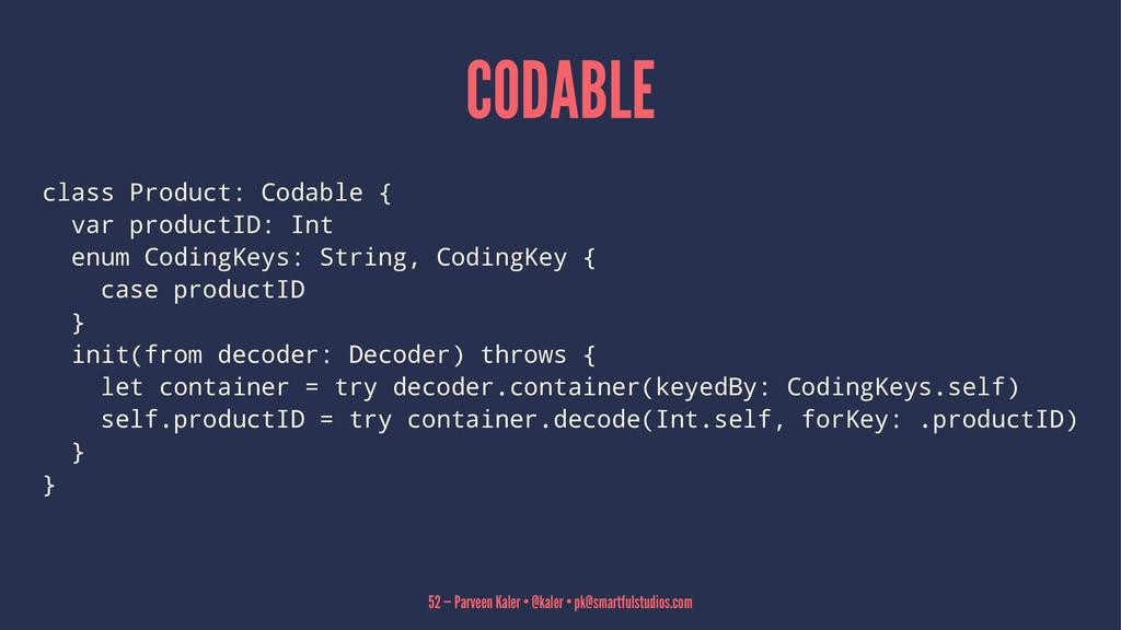 CODABLE class Product: Codable { var productID:...