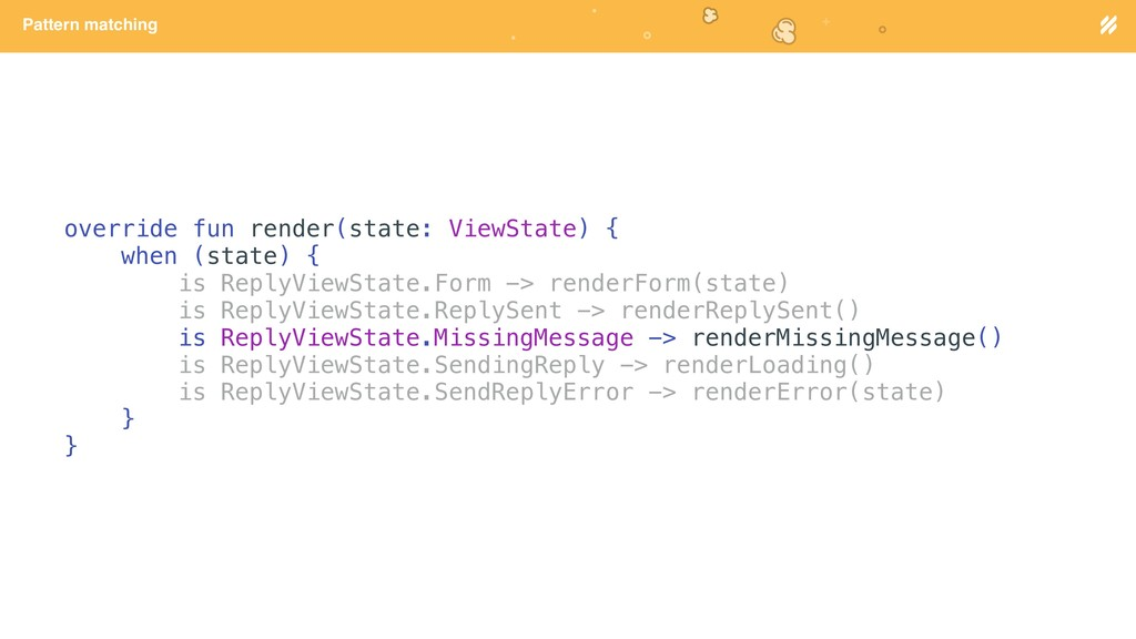 Page heading Pattern matching override fun rend...