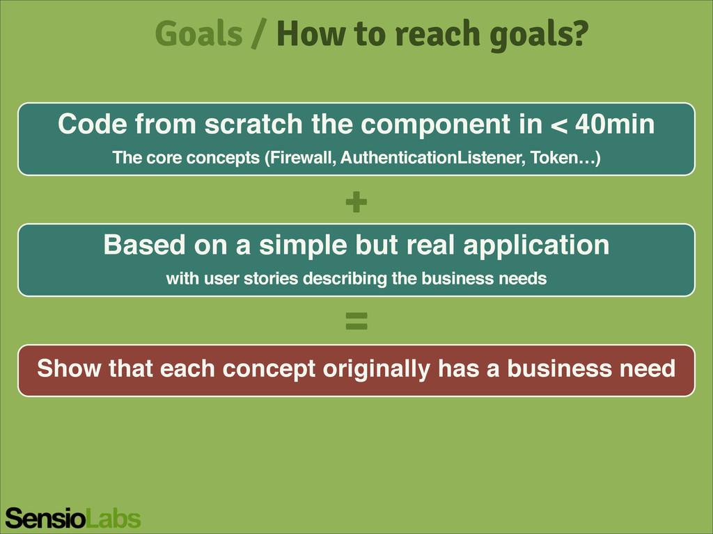 Goals / How to reach goals? Code from scratch t...
