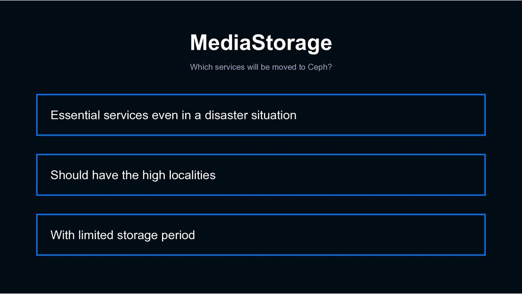 MediaStorage Which services will be moved to Ce...