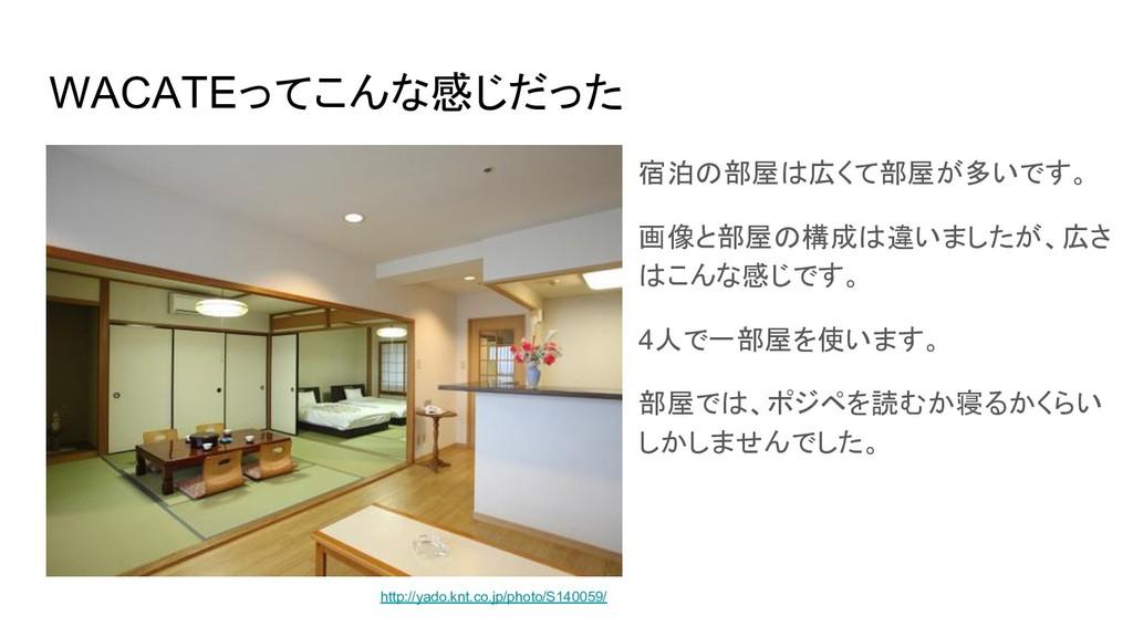 WACATEってこんな感じだった 宿泊の部屋は広くて部屋が多いです。 画像と部屋の構成は違いま...