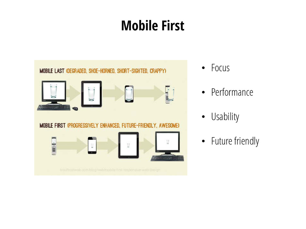 Mobile First • Focus • Performance • Usability ...