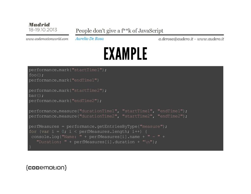"EXAMPLE p e r f o r m a n c e . m a r k ( "" s t..."
