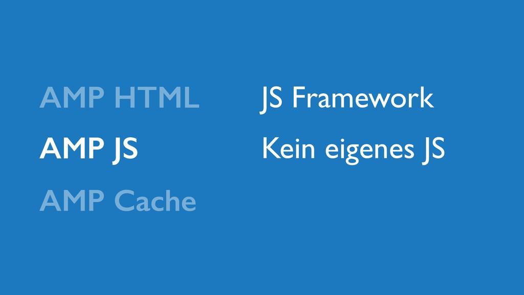 AMP JS AMP HTML AMP Cache JS Framework Kein eig...