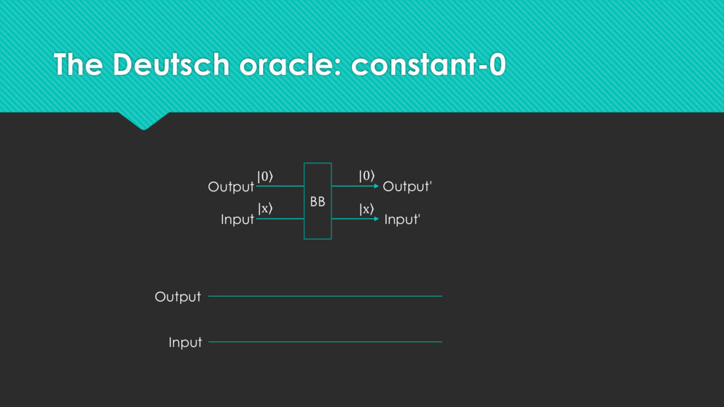 The Deutsch oracle: constant-0 Output Input BB ...