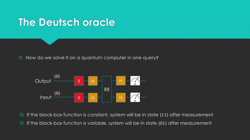The Deutsch oracle  How do we solve it on a qu...