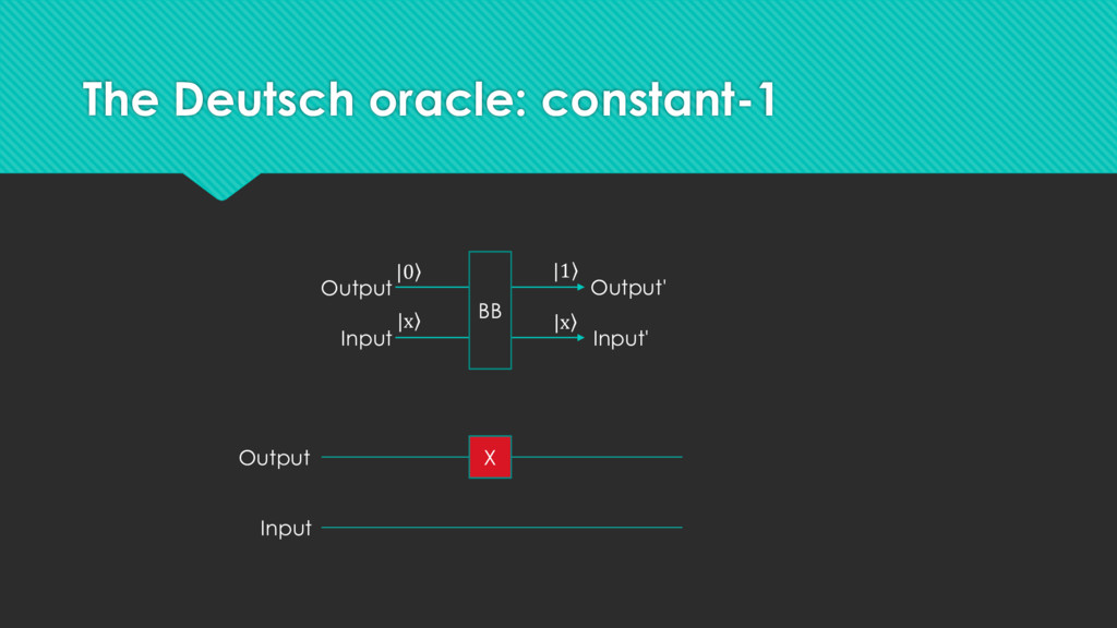 The Deutsch oracle: constant-1 Output Input X B...