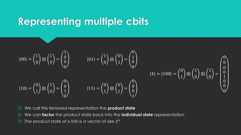 Representing multiple cbits | ۧ 00 = 1 0 ⊗ 1 0 ...