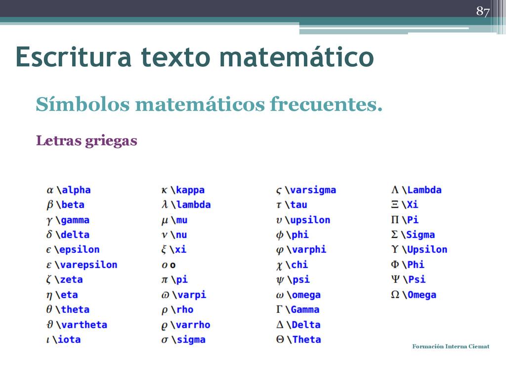 Símbolos matemáticos frecuentes. Letras griegas...