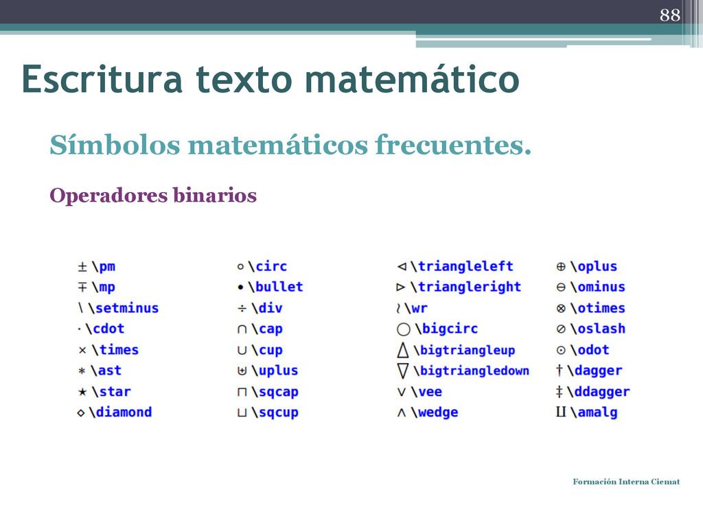 Símbolos matemáticos frecuentes. Operadores bin...