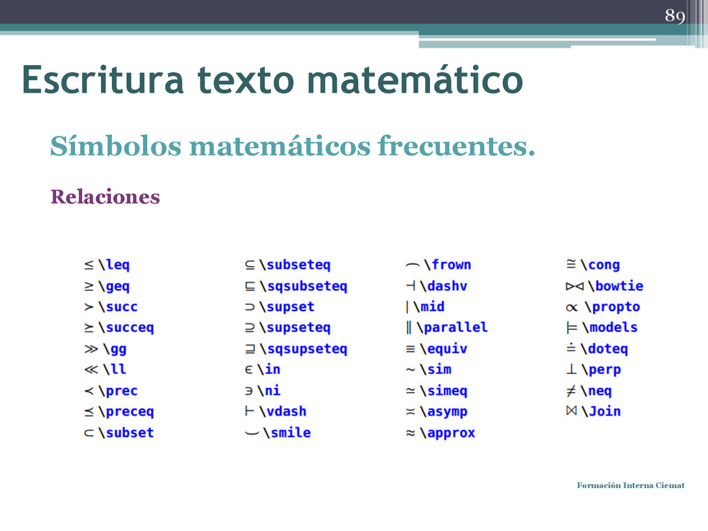 Símbolos matemáticos frecuentes. Relaciones For...