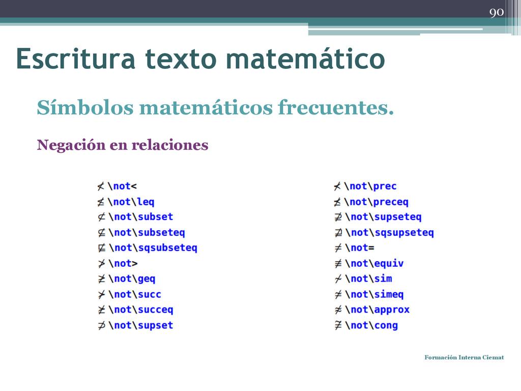 Símbolos matemáticos frecuentes. Negación en re...