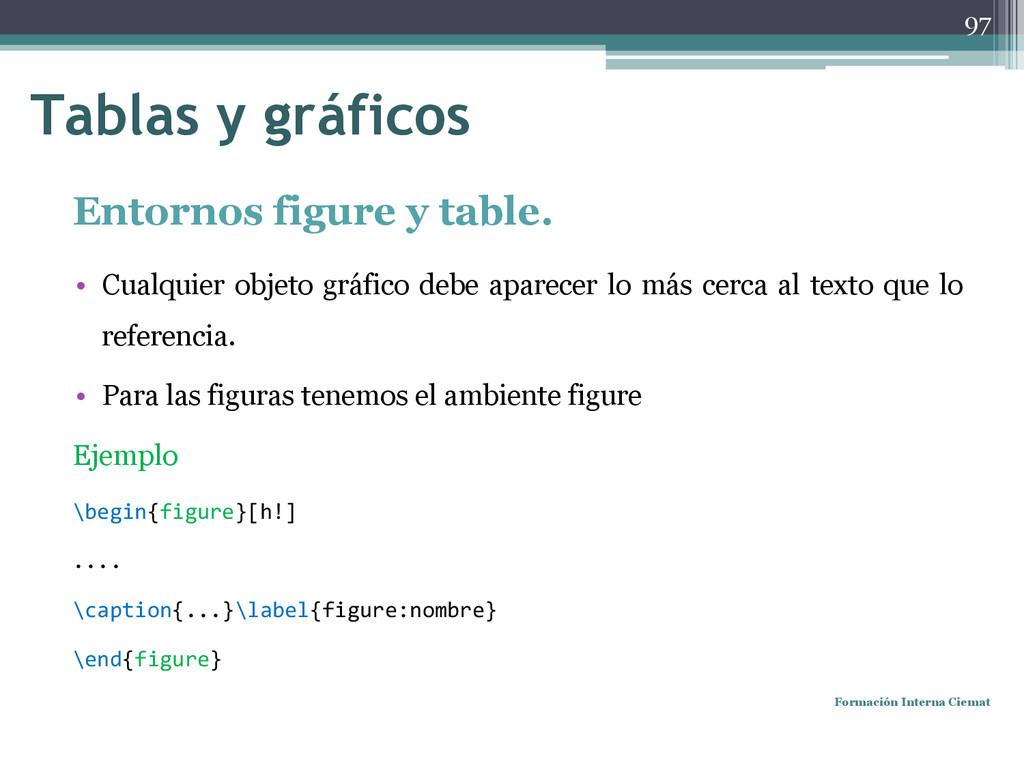 Entornos figure y table. • Cualquier objeto grá...