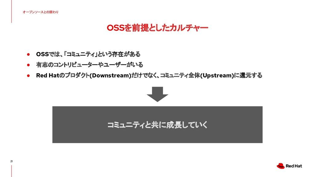 オープンソースとの関わり OSSを前提としたカルチャー 21 ● OSSでは、「コミュニティ」...