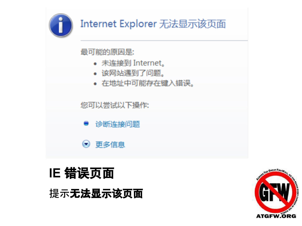 IE 错误页面 提示无法显示该页面