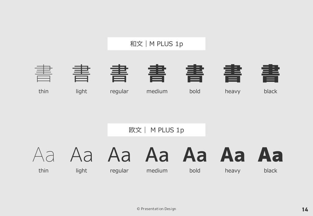 © Presentation Design 14 和⽂|M PLUS 1p 欧⽂| M PLU...