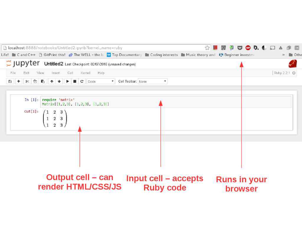 Runs in your browser Input cell – accepts Ruby ...