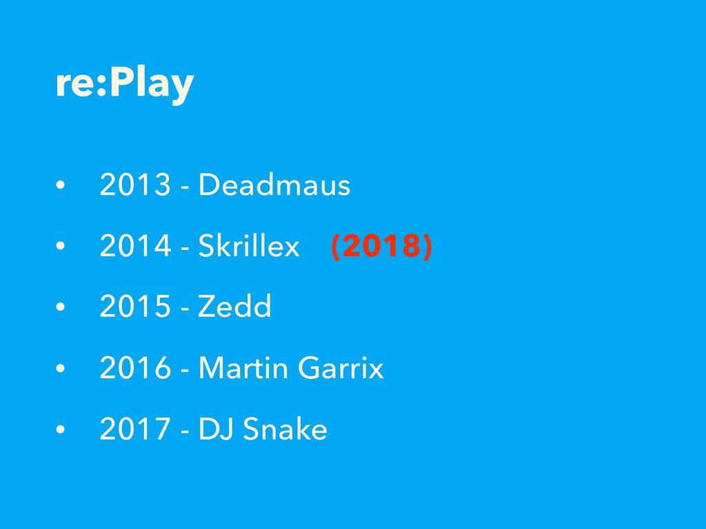 re:Play • 2013 - Deadmaus • 2014 - Skrillex (20...