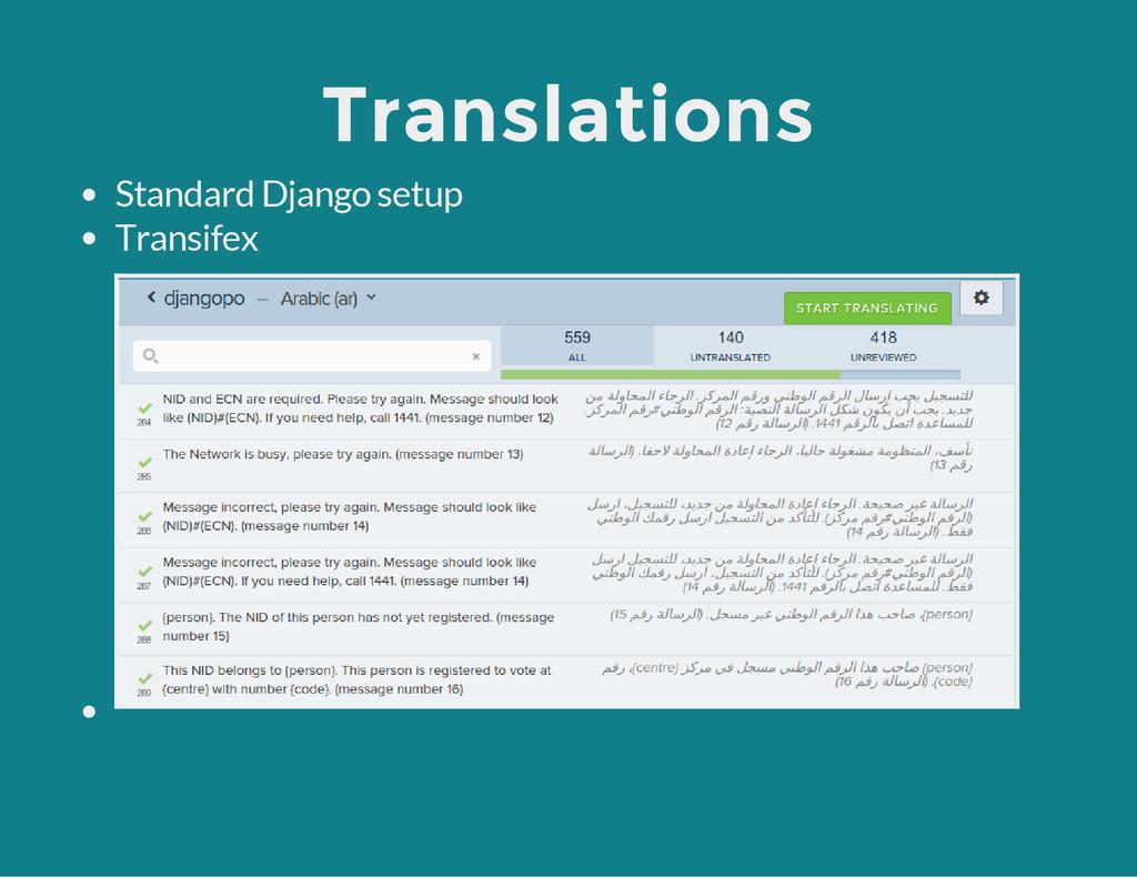Translations Standard Django setup Transifex
