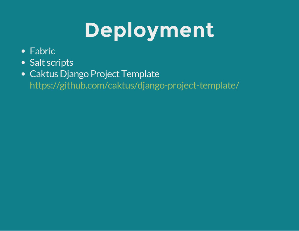 Deployment Fabric Salt scripts Caktus Django Pr...