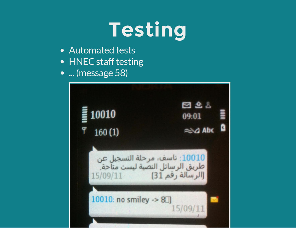 Testing Automated tests HNEC staff testing ... ...