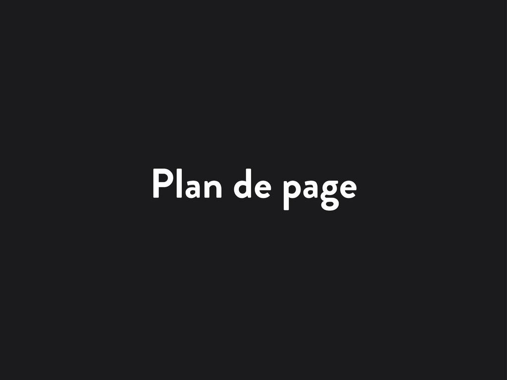 Plan de page