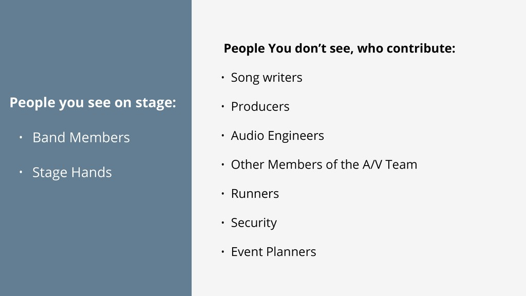 People you see on stage: • Band Members • Stage...