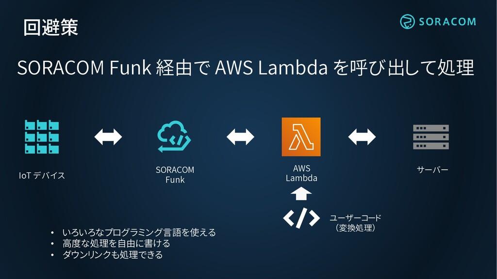 回避策 SORACOM Funk 経由で AWS Lambda を呼び出して処理 ユーザーコー...
