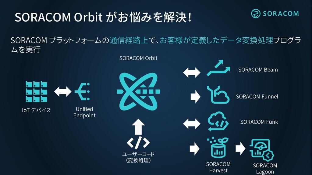 SORACOM Orbit がお悩みを解決! SORACOM プラットフォームの通信経路上で、...