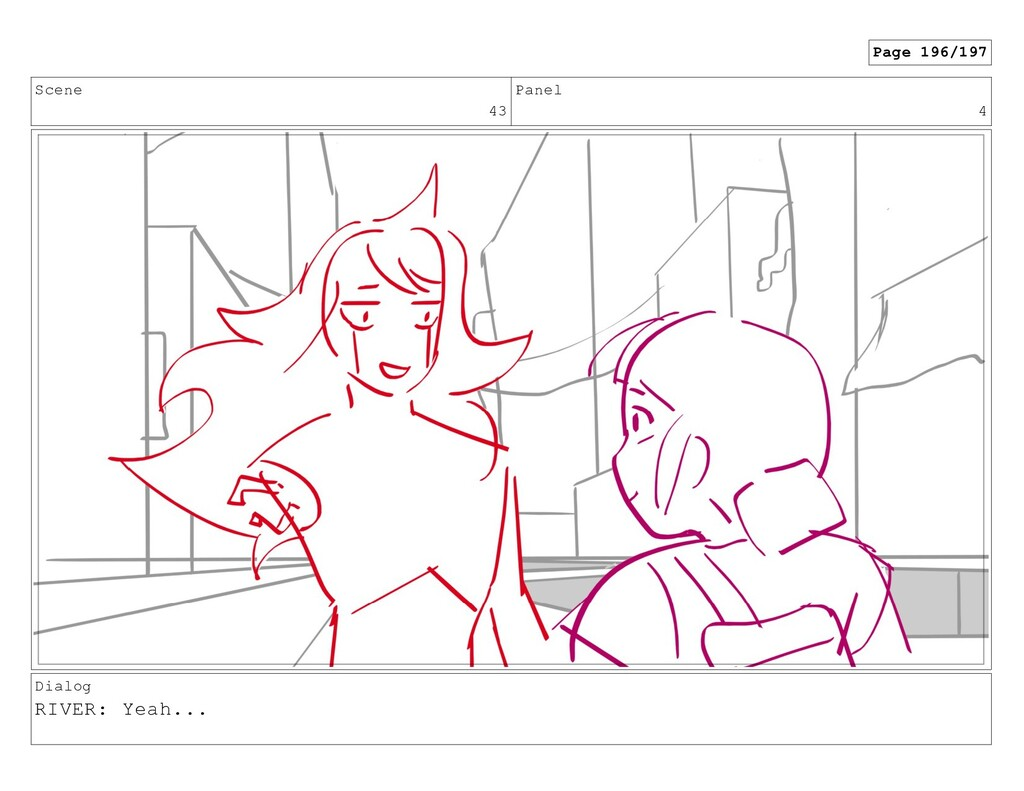 Scene 43 Panel 4 Dialog RIVER: Yeah... Page 196...