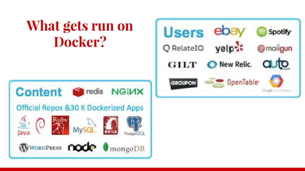 What gets run on Docker?
