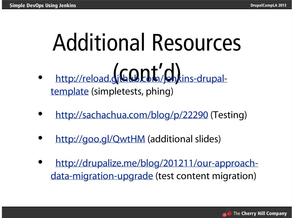 DrupalCampLA 2013 Simple DevOps Using Jenkins A...