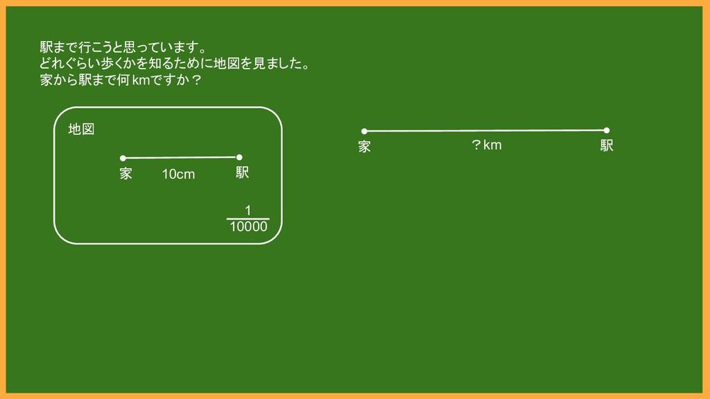 ● 家 ● 駅 ?km 地図 ● 家 ● 駅 1 10000 10cm 駅まで行こうと思ってい...
