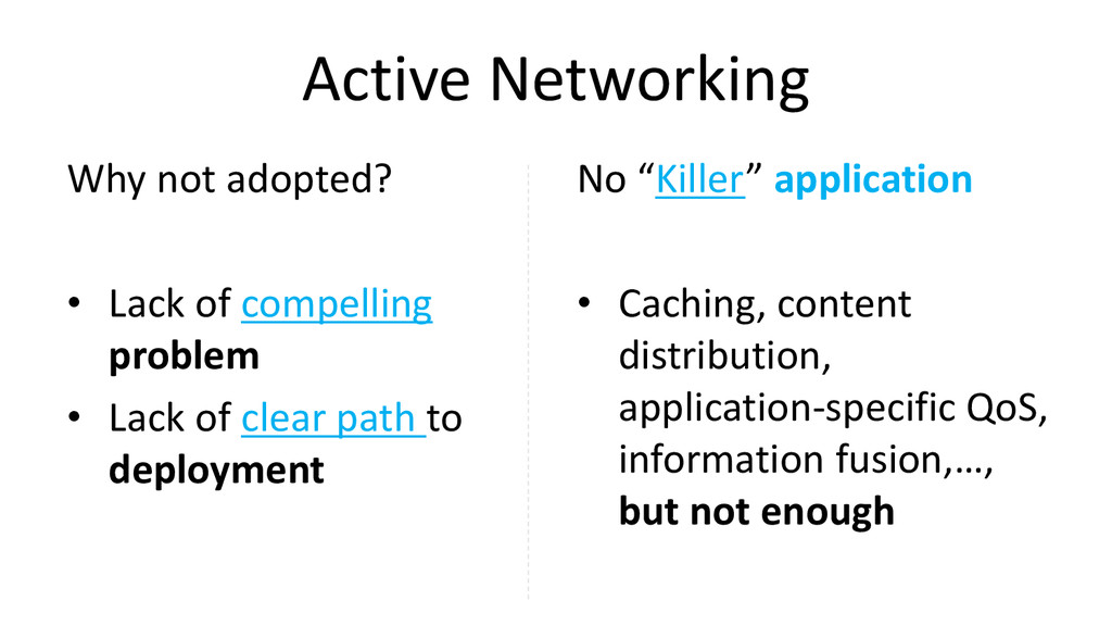 Active Networking Why not adopted? • Lack of co...