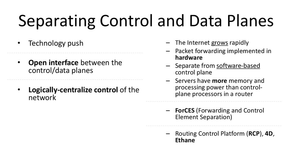 Separating Control and Data Planes • Technology...
